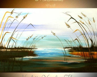 ORIGINAL  Marsh scene with sea oats Abstract  gallery Contemporary Modern Winter Marsh Oil painting by Nicolette Vaughan Horner