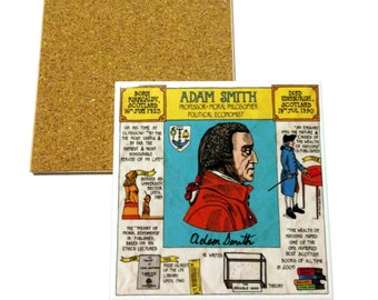 Illustrated ceramic coaster - Adam Smith timeline design (University of Glasgow)