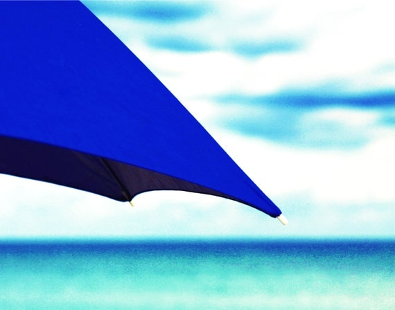 Beach Umbrella Print | Blue Beach Umbrella + Blue Ocean Waves Photography | Umbrella Art | Beach Wall Art | Minimalist, Nautical Photography