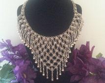 Now On Sale Vintage Bib Necklace, Statement Necklace, Bali Jewelry, Avant Garde Jewelry, Belly Dancing Jewelry, Boho Accessories, 1950's 196