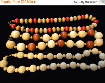 Now On Sale 3 Vintage Chunky Wooden Necklaces Ethnic Collectible Jewelry