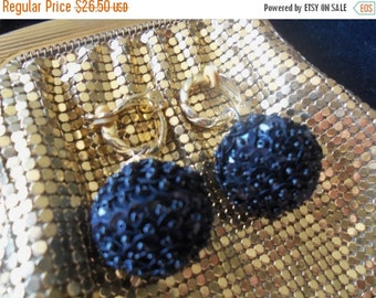 NOW ON SALE Vintage Black Beaded Earrings Sequins 1960's Mad Men Mod Hollywood Regency Jewelry Black Tie Formal