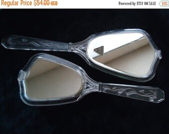 Now On Sale Vintage 40's 50's Vanity Lucite Mirror & Brush Set Mid Century Modern Retro Home Decor New Old Stock