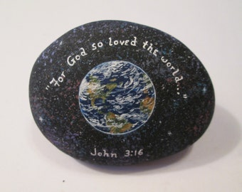 Planet Earth with Bible Verse hand painted by Ann Kelly