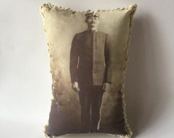 Tiny soldier pillow post card sent home soldier photo writing post card pillow with history 1909 marching