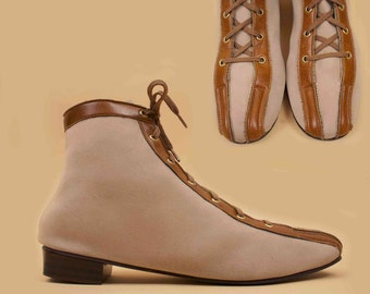 60s Vtg Taupe Striped Lace Up ULTRASUEDE Ankle Boots / MOD Hippie Fabric & Vinyl Vegan Low Chunky Platform Heel / US 7 - 7.5 Euro 37.5 - 38