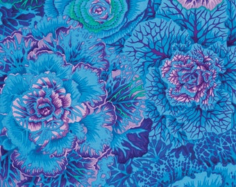 BRASSICA- BLUE by the half yard Kaffe FASSETT Philip Jacobs Classics cotton quilt craft fabric Westminster Fibers-Pwpj051 cabbage flowers