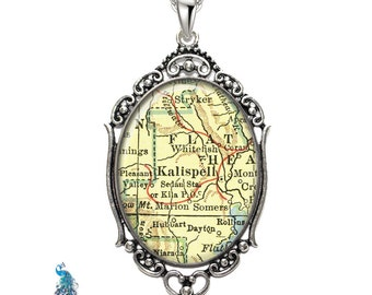 Vintage Map Necklace Oval Filigree Pendant City of Kalispell Montana Antique Map Pendant State of MT