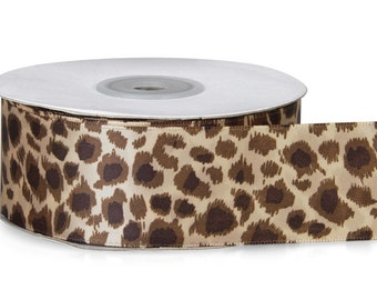 "5yds x 1-1/2"" Tan & Brown LEOPARD SPOTS Animal Print Satin Ribbon Monofilament Edge"