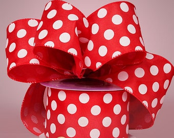 "5YDS x 1-1/2"" Big Polka Dot Red & White Satin Wired Edge Ribbon (Free Shipping!)"