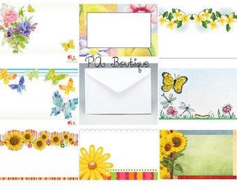 40ct. BUTTERFLIES and FLOWERS Assortment Florist Blank Enclosure Cards & Envelopes Set (Free Shipping!)