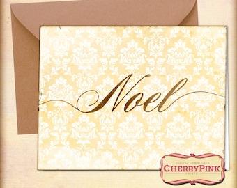 DIY Christmas digital card, Noel printable, Floral damask Merry Chrismtas card, holiday printables