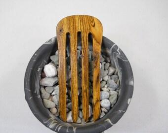 4 prong Bocote wood hair fork