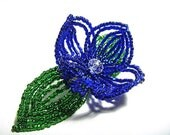 Blue Flower Floral Green Leaf Bloom French Beaded Fascinator - Sparkle Collection