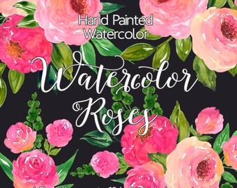 Watercolour Flower Clip Art - Hand Painted Watercolor Roses, Pink Flower Bouquet Clip Art, Digital Clipart flowers