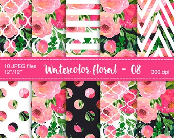 Watercolor flowers digital clipart - Floral digital paper, Digital Scrapbook Paper, Floral patterned, Floral pattern papers, Flowers pattern