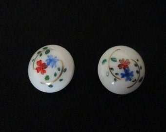 Two Vintage Floral Painted White Glass Buttons 5/8 inch