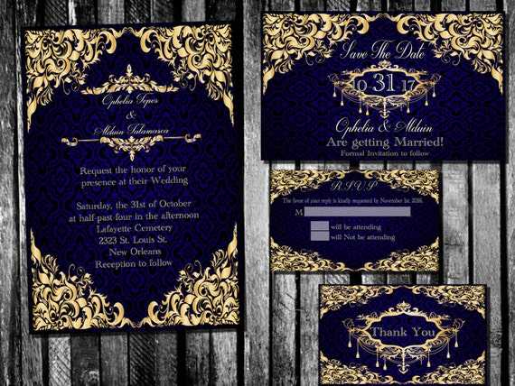like this item - Blue And Gold Wedding Invitations