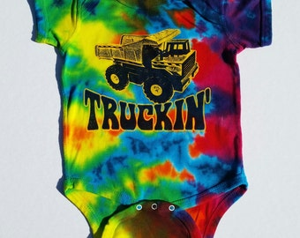 Truckin' infant tye-dye baby onesie romper - Grateful Dead, Furthur, Jerry Garcia, hippie inspired