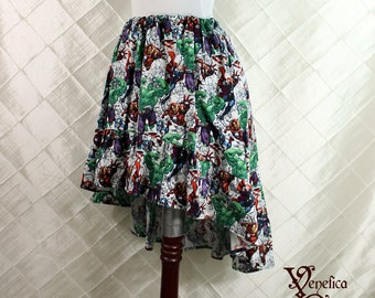 "Avengers Cotton Print -- High Low Mini Cecilia Skirt -- Ready to Ship -- Fits Up To 38"" Waist"