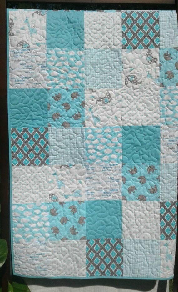 Baby Elephant Quilt Teal Gray Whitebaby Bedding