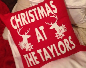 Personalised christmas cushion cover  any colour