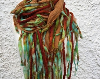 Dreadlock scarf-Boho scarf- lagenlook scarf- pixie- Autumn Scarf- Wool Scarf - winter scarf-colourful scarf-hippie scarf-gift for her