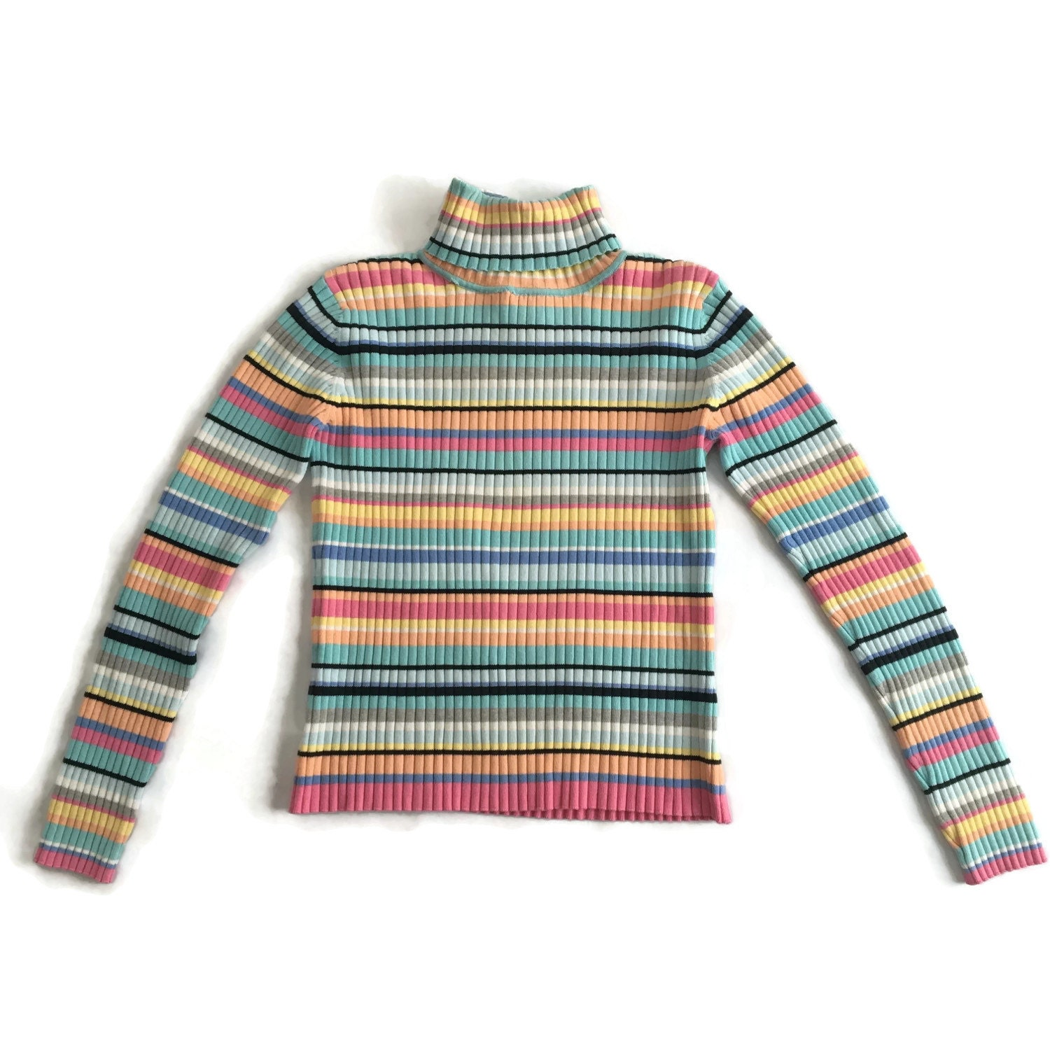 90s Grunge Striped Ribbed Turtleneck Sweater