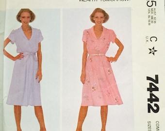 McCall's 7442 Misses' Dress and Belt Pattern, UNCUT, Size 12-14-16, Make It Tonight, Wear It Tomorrow, Pullover Dress, Vintage 1981