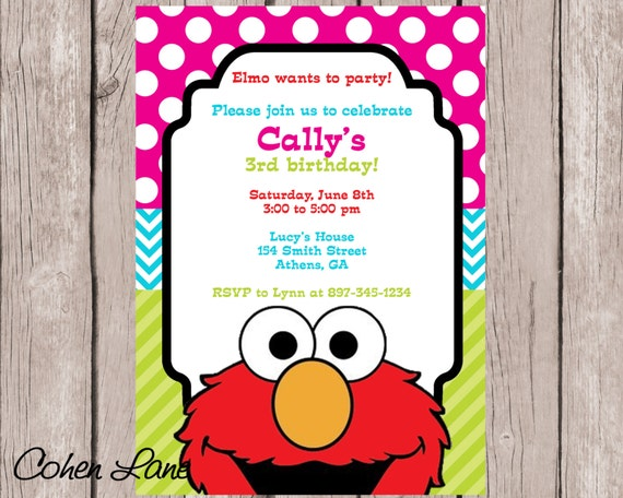 Printable Elmo Birthday Party Invitation Girly