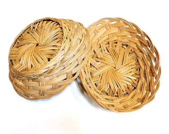 Wicker Oval Bread Baskets, Pair of Vintage Country Farmhouse Serving Kitchen Dining Fruit Biscuit Bakery Rolls Pastry Baskets itsyourcountry