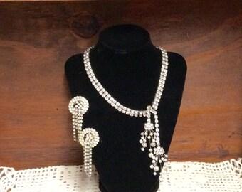 Mid Century Vintage Marvella Rhinestone Necklace and Earrings