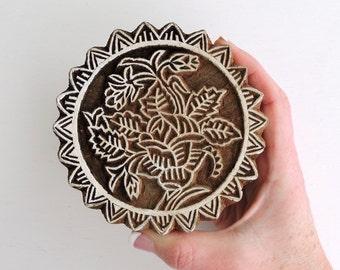 Lotus Flower Stamp: Hand Carved Wood Printing Block, Large Indian Circle Stamp, Round Wooden India Ceramic Tile Pottery Stamp