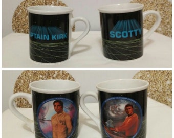 Lot of 2 - Vintage Star Trek Captain Kirk and Scotty Coffee Cup - Circa 1980s - 1983 Mug Collection