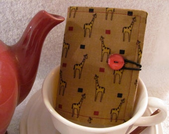 Quilted Tea Wallet Darling Giraffe Fabric with Red Accent and Beige Linen Fabric - Quilted Tea Leaf Accent Stitch Vintage Red Accent Button