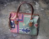Top Handle Kilim PURSE / Southwest Tapestry Handbag / Vintage Two handle Tote / leather Tassel and Textile Bag