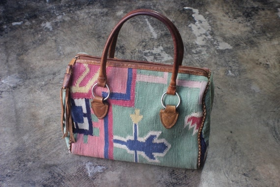 Top Handle Kilim PURSE / Southwest Tapestry Handbag / Vintage Two handle Tote / leather Tassel and Textile Bag