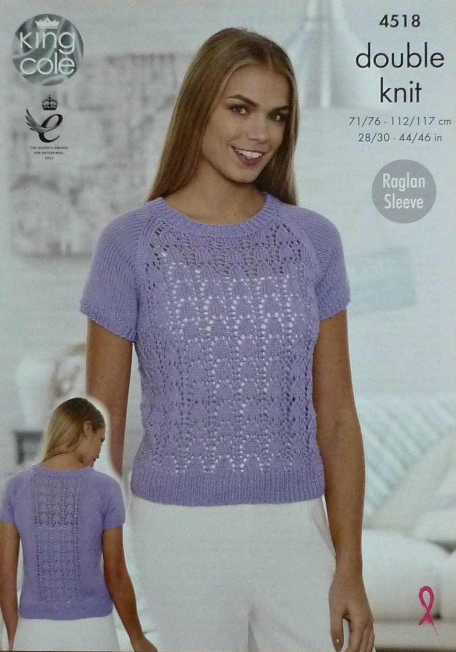 Womens Knitting Pattern K4518 Ladies Long Sleeve Round Neck Lacy Jumper Knitt...