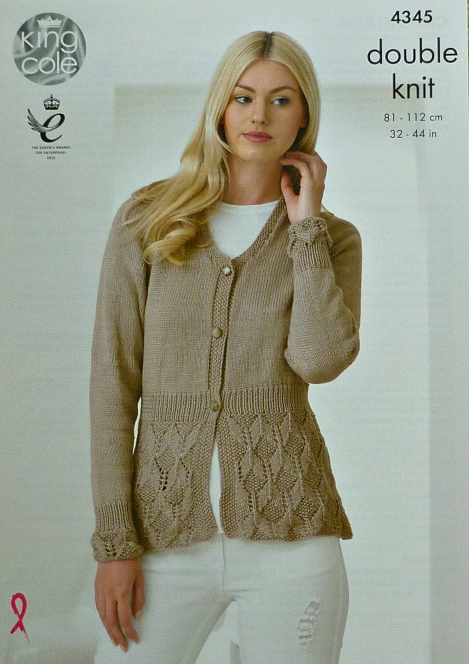 Women s Cardigan Knitting Pattern : Womens Knitting Pattern K4345 Ladies Long Sleeve V-Neck Cardigan with Lace pa...
