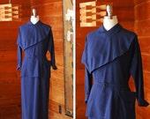 SALE / vintage 1950s dress / 50s dark blue wool peplum dress / size medium