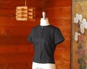 SALE / vintage 1950s black cotton blouse / size medium large