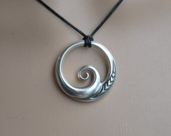 Sterling Silver Maori Koru Pendant~ wave pendant,connections with the ocean. Tribal ethnic jewelry