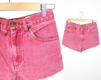 Vintage Retro Red Acid Washed High Waisted Shorts Size 12R