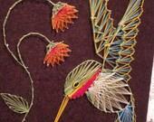 Vintage string art humming bird
