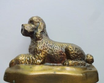 Vintage Brass Poodle Music Box Coin Bank 1960s