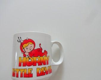 Vintage Horny Little Devil Coffee Mug 1980s