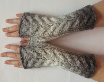 Gray Fingerless Gloves Light Gray Long Mittens Arm Warmers Acrylic Wool