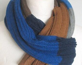 Linen Scarf Shawl Wrap Stole Beige Brown Blue Azure Multicolored