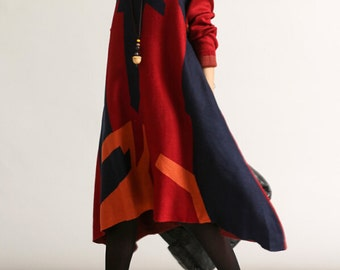 Soft comfortable loose asymmetric long oversize dress