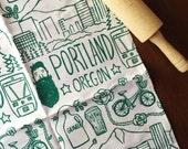 Organic Cotton Kitchen Tea Towel - Portland, Oregon - Hand Printed